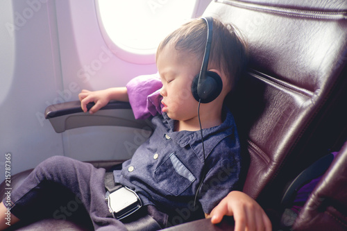 Cute Little Asian 24 Months 2 Years Old Toddler Baby Boy Child Sleeping On Airplane