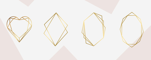 Wall Mural - luxury Gold Geometric frame for wedding invitation design card, fashion and arts design vector template.