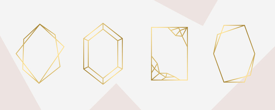 luxury Gold Geometric frame for wedding invitation design card, fashion and arts design vector template.