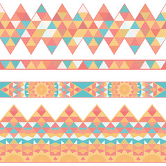 Set of vector seamless borders. Grid and triangles.
