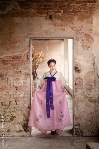 Woman Wearing Hanbok Korean Traditional Dress Costume Walk And