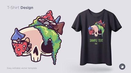 Skull overgrown with moss t-shirt design. Print for clothes, posters or souvenirs. Vector