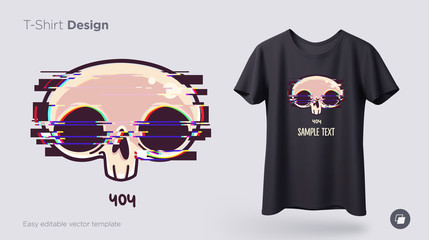 Skull with glitch effect t-shirt design. Print for clothes, posters or souvenirs. Vector