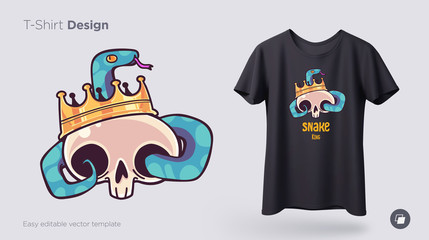 Skull in a crown with a snake t-shirt design. Print for clothes, posters or souvenirs. Vector