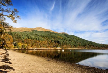 Early morning light on the autumn colours of Ardgartan woods reflected in the calm waters of Loch Long