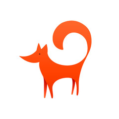 Red Fox . Vector Logo with Negative Space. Laconic Symbol for Icons, Logos, Badges and Emblems.
