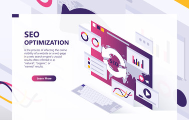 SEO vector isometric background. Optimization process of internet search results for online visibility of website. Concept banner with data analysis, graphs, statistical charts, template for web page