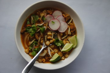 Mexican Red Posole with Waxworms