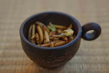 Bamboo Caterpillars in a cup