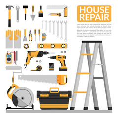 set of DIY home repair working tools vector logo design template. home repair banner, construction , repair icons. hand tools for home renovation & construction. flat design, EPS10 vector illustration