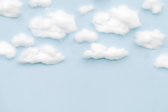 The background of sky and clouds In shades of pastel blue tones.