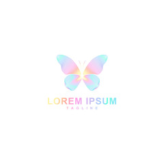 butterfly logo design, line style arranged butterfly shape with full color, icon vector