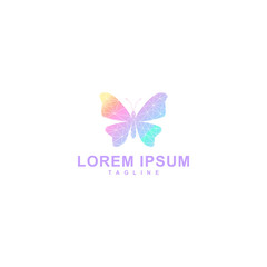 abstract butterfly logo, low poly design with gradient color
