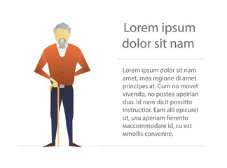 Old man with walking stick flat character design