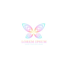 abstract butterfly logo, stylish geometric design with gradient color