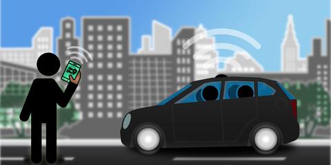 adi77 AutonomousDrivingIllustration - On-demand carpooling / ridesharing / carsharing / shuttle - xxl 2to1 g6382