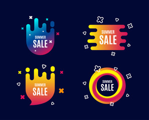 Summer Sale. Special offer price sign. Advertising Discounts symbol. Sale banners. Gradient colors shape. Abstract design concept. Vector