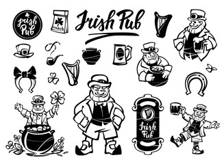 Set of illustrations of the leprechaun. Leprechaun and St. Patrick's day symbols