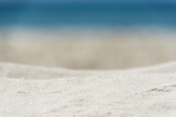 Close up background of blurred sand beach and sea waves with bokeh lights