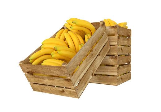 3D render of wooden box. Full of bananas fruit. Isolated on white background.