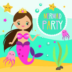 Children and kids holiday party invitation design template with cute mermaid