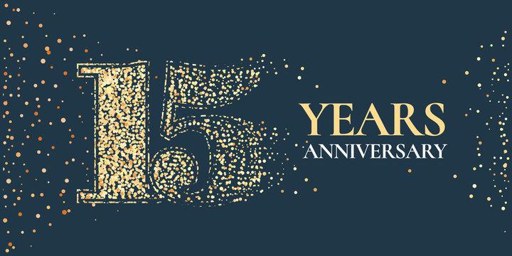 15 years anniversary celebration vector icon, logo