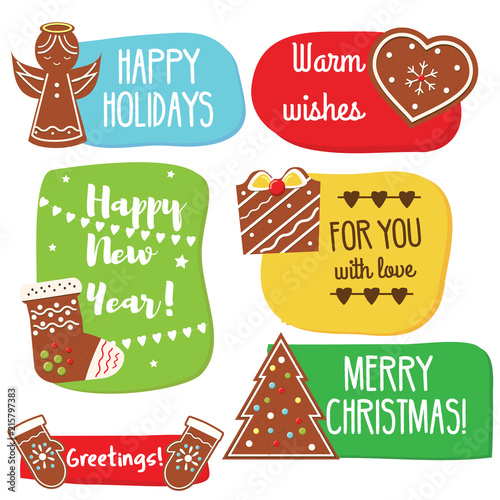 Christmas and new year greeting tags with gingerbread cookies christmas and new year greeting tags with gingerbread cookies traditional seasonal warm wishes m4hsunfo