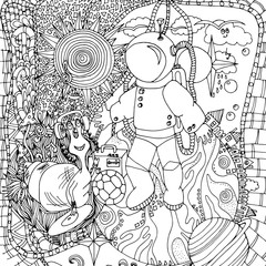 Astronaut and aliens, space, doodle, drawn by hand