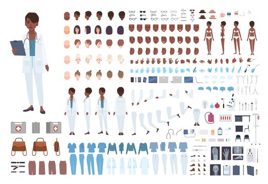 African American female doctor constructor. Set of body parts in different poses, facial expressions, uniform isolated on white background. Front, side and back views. Cartoon vector illustration.