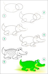 Page shows how to learn step by step to draw a cute crocodile. Developing children skills for drawing and coloring. Vector image.