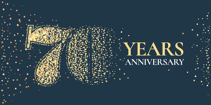 70 years anniversary celebration vector icon, logo