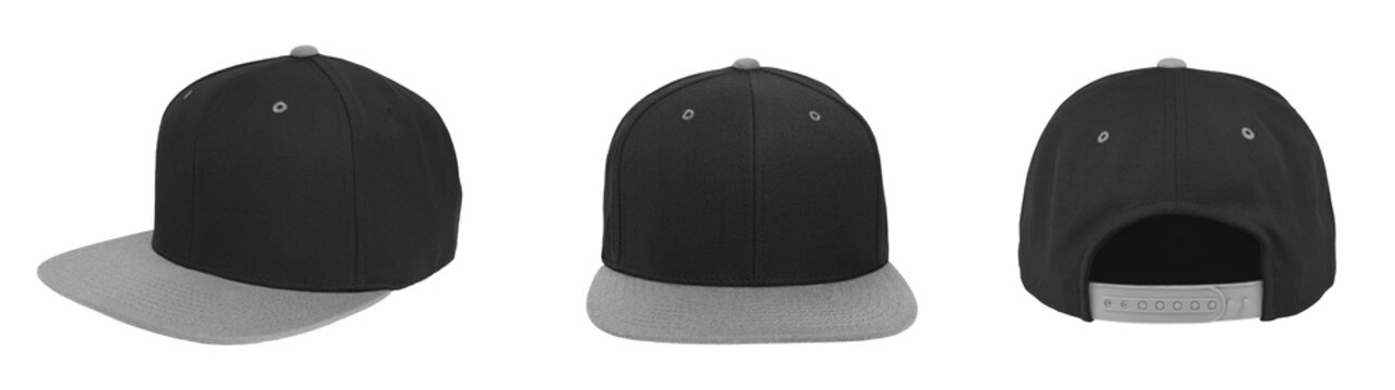 Blank baseball snapback cap two tone color black/gray on white background