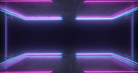 Futuristic Sci-Fi Bracket Shaped Neon Blue And Purple Glowing Lights With Reflections On Concrete Floor And Ceiling Dark Empty Space 3D Rendering