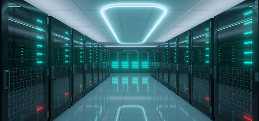 Modern Hi-Tech IT Server Rack Room With A lot Servers With Glowing Lights On Reflective Floor And Neon Light On The Ceiling Glowing Dark Blue Artificial Intelligence Concept 3D Rendering