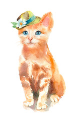 Watercolor painting. Cute red cat in a hat on white background.