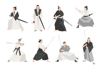 Collection of samurai isolated on white background. Set of male Japanese warriors wearing various clothes, standing in different postures and holding katana swords. Flat cartoon vector illustration.