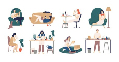 Bundle of young men and women spending weekend at home - playing guitar, eating sushi, reading books, surfing internet, listening to music, cooking. Colored vector illustration in flat cartoon style.