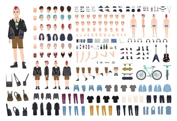 Punk DIY or constructor kit. Set of young male character or teenager body parts, emotions, postures, outfit, subculture accessories isolated on white background. Flat cartoon vector illustration.