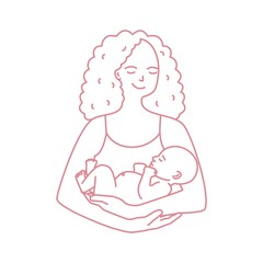 Portrait of smiling mother holding baby drawn with contour line on white background. Cheerful mom carrying newborn child. Happy parenting, motherhood and nursing. Monochrome vector illustration.