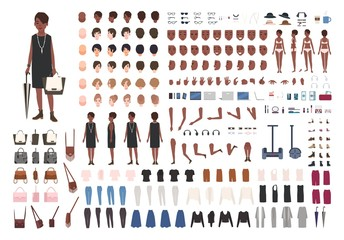 Stylish young African American lady DIY or animation kit. Bundle of female character body details, poses, gestures, elegant clothing isolated on white background. Flat cartoon vector illustration.