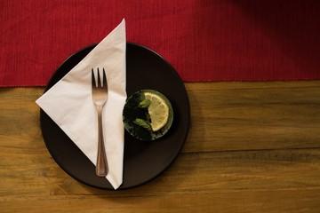 Healthy breakfast on wooden table in restaurant
