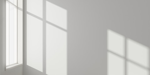 Stimulate scene of white empty room with sun light cast shadow on the laminate wood wall and plank floor,Perspective of minimal architecture. 3D rendering Wall mural
