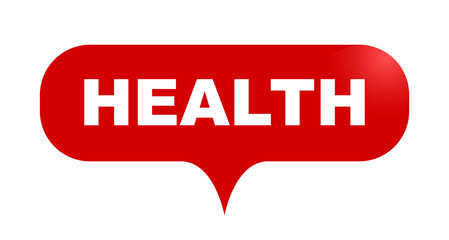red vector bubble banner health