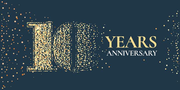 10 years anniversary celebration vector icon, logo