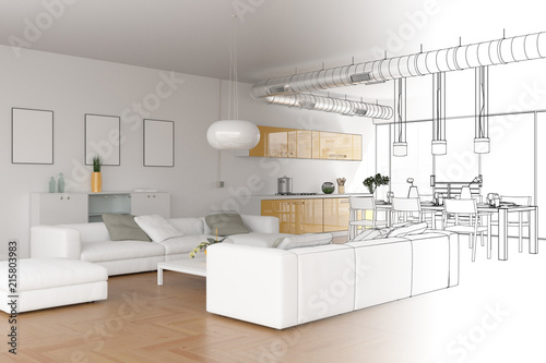 Interior design modern loft drawing gradation into photograph