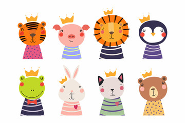 Wall Murals Illustrations Set of cute funny little animals in crowns cat, bear, lion, tiger, penguin, bunny, frog, pig. Isolated objects on white. Vector illustration. Scandinavian style flat design. Concept for children print