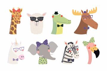 Printed roller blinds Illustrations Set of cute funny trendy animals unicorn, zebra, llama, flamingo, giraffe, moose, crocodile, elephant. Isolated objects on white. Vector illustration. Scandinavian style design Concept kids print