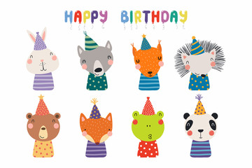 Poster de jardin Des Illustrations Set of cute funny animals in party hats bear, panda, bunny, wolf, frog, fox, hedgehog, squirrel. Isolated objects on white. Vector illustration. Scandinavian style design. Concept kids birthday print