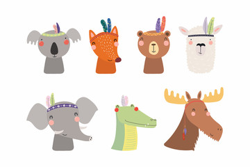 Set of cute funny little tribal animals bear, koala, llama, moose, fox, crocodile, elephant. Isolated objects on white. Vector illustration. Scandinavian style flat design. Concept for children print