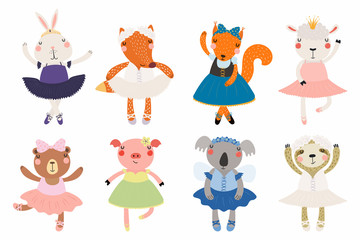 Poster Illustrations Set of cute funny little animals ballerinas bear, sheep, bunny, fox, pig, squirrel, sloth, koala. Isolated objects on white. Vector illustration. Scandinavian style flat design. Concept children print